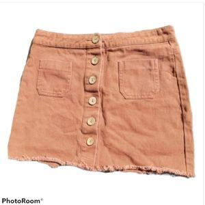 White Fawn Button Up Orange XL Mini Skirt